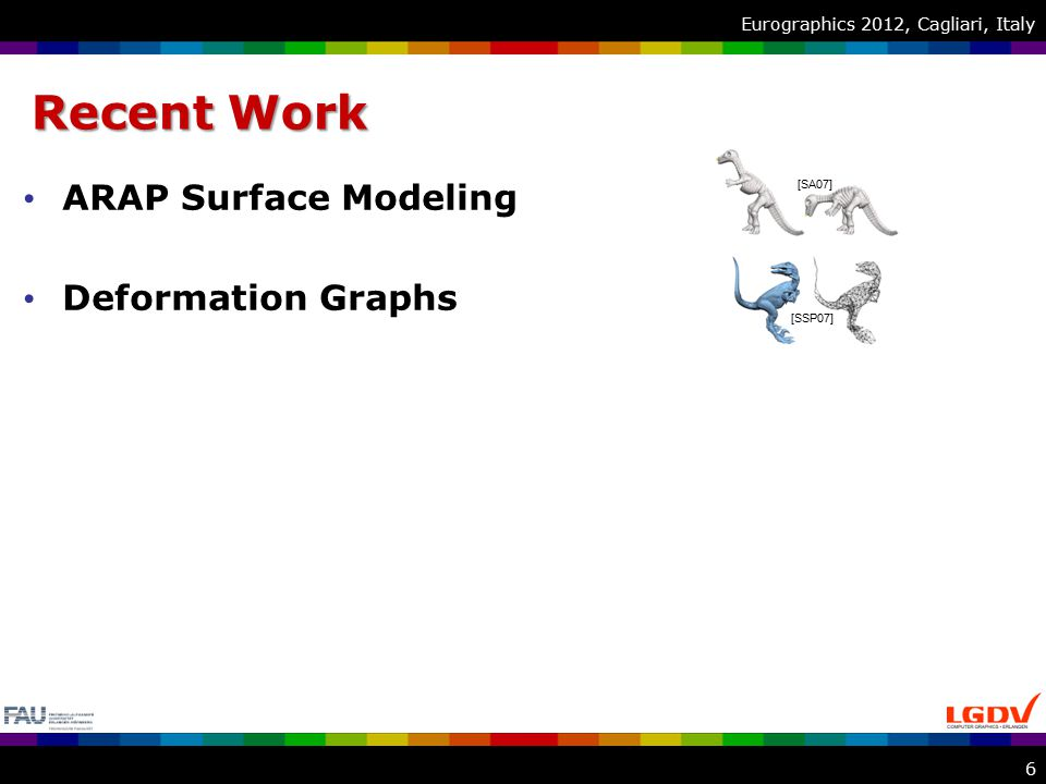 Eurographics 2012, Cagliari, Italy Optimization Problem Paradigm –ARAP [SA07] on a volumetric lattice Objective function –Plausibility of deformation Rigidity of local transformations –Fulfillment of user constraints Distance of vertices to handles 17