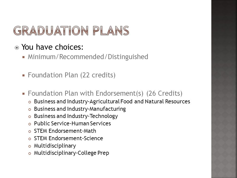  You have choices:  Minimum/Recommended/Distinguished  Foundation Plan (22 credits)  Foundation Plan with Endorsement(s) (26 Credits) Business and Industry-Agricultural Food and Natural Resources Business and Industry-Manufacturing Business and Industry-Technology Public Service-Human Services STEM Endorsement-Math STEM Endorsement-Science Multidisciplinary Multidisciplinary-College Prep