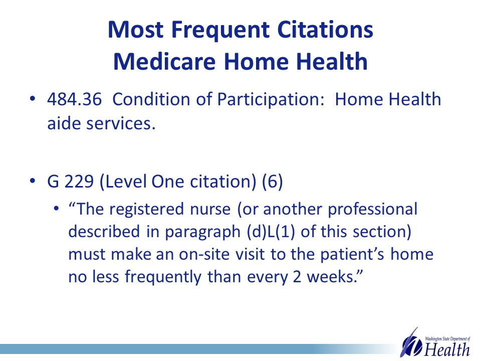 Most Frequent Citations Medicare Home Health 484.36 Condition of Participation: Home Health aide services.