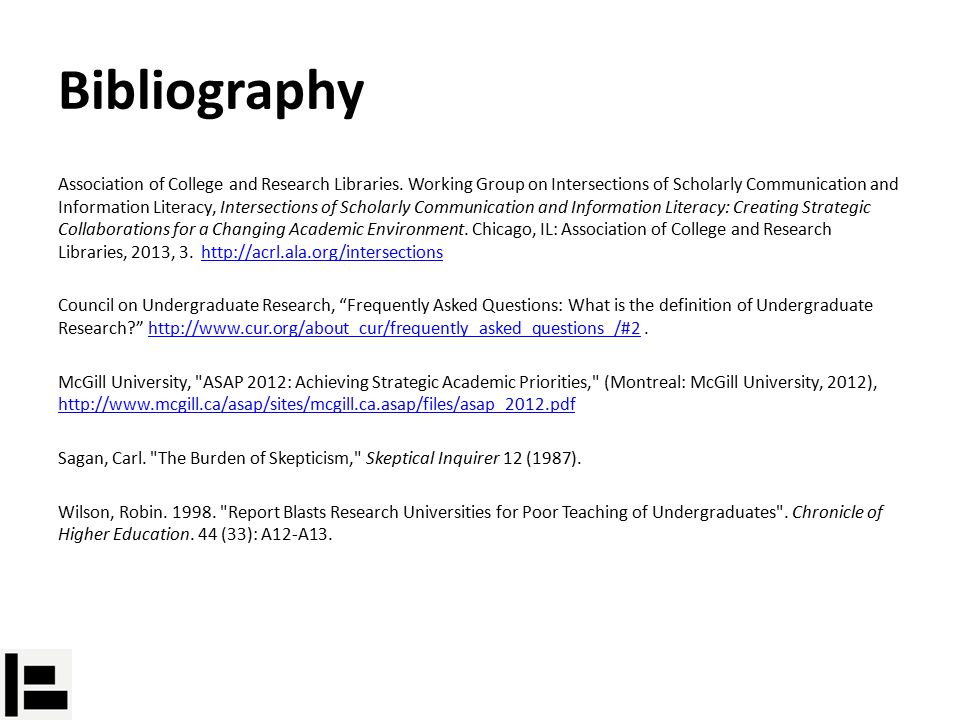 Bibliography Association of College and Research Libraries.