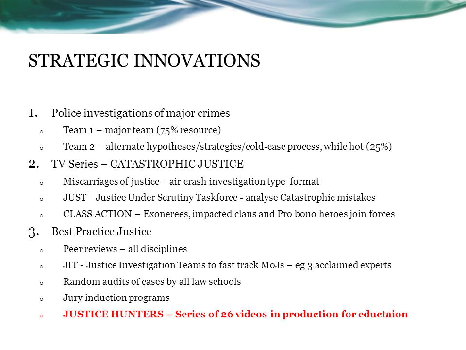 STRATEGIC INNOVATIONS 1.