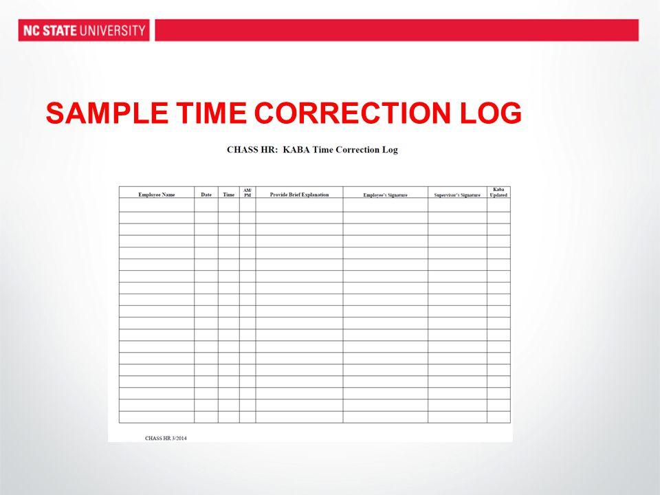 SAMPLE TIME CORRECTION LOG