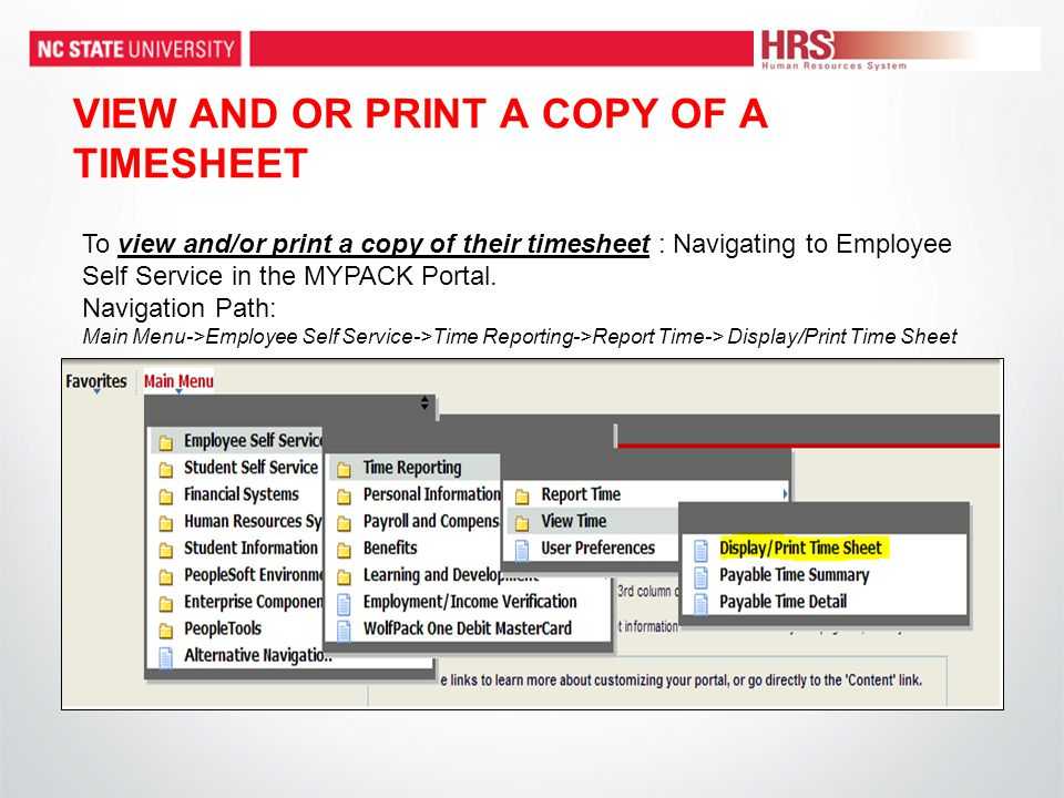VIEW AND OR PRINT A COPY OF A TIMESHEET To view and/or print a copy of their timesheet : Navigating to Employee Self Service in the MYPACK Portal.