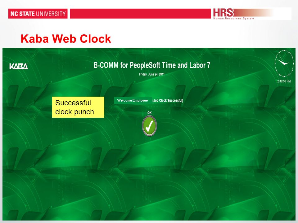 Kaba Web Clock Welcome Employee Successful clock punch