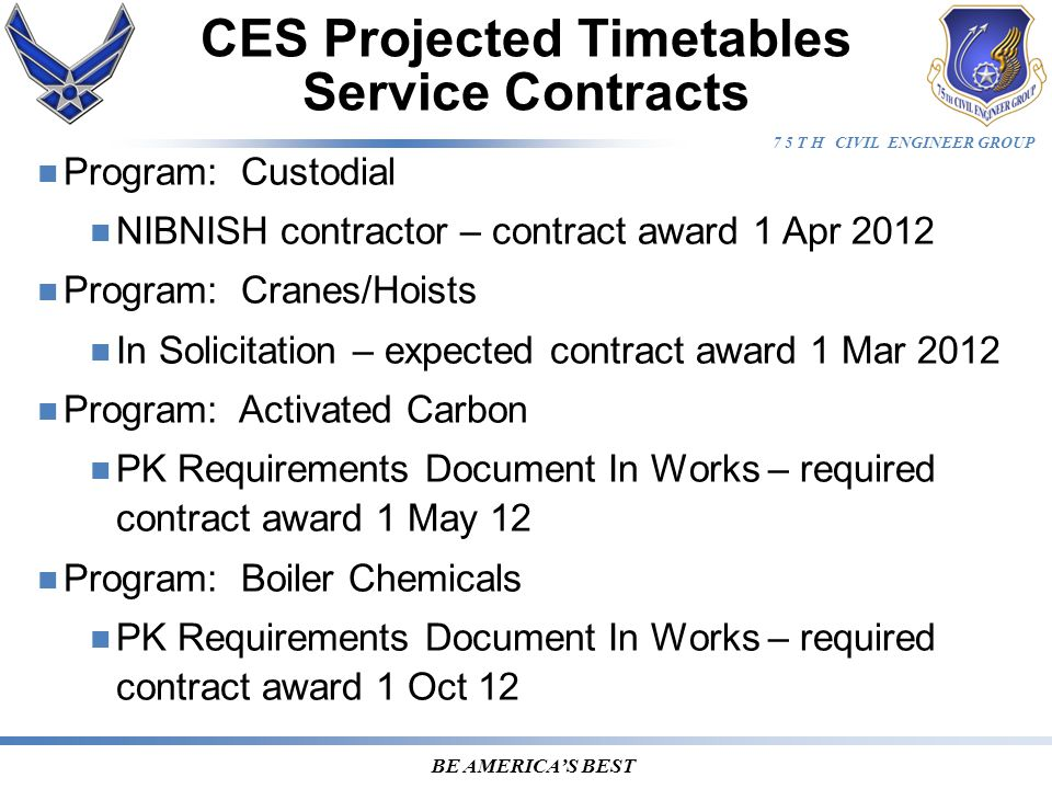 7 5 T H CIVIL ENGINEER GROUP BE AMERICA'S BEST MILCON Projects Under Design User Project NumberProject TitleFY % RFP RFP CMP DateRemarks Project Manager 508 ASW 123011R F-22 System Support Facility1210030-Sep-11Est award 17 Apr 12.Waite 75 CEG 003009 Fire Crash Rescue Station13101-Mar-12Spagnuolo 388 FW 103012 F-35 ADAL Hangar 45W/AMU139012-Mar-12 DI issued to complete RFP..