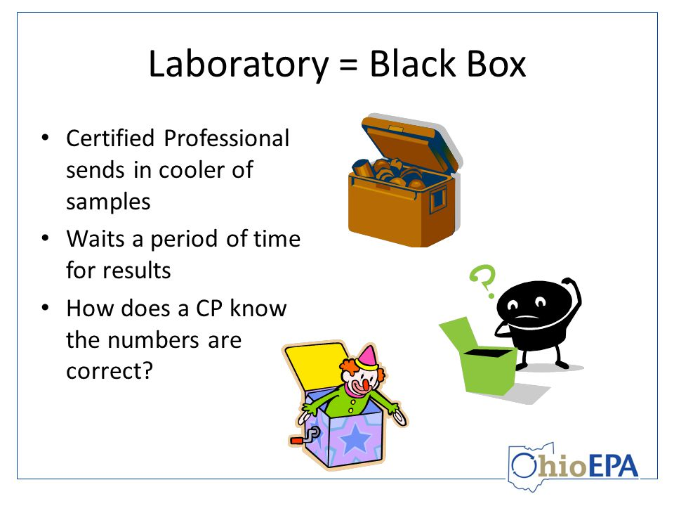 Laboratory = Black Box Certified Professional sends in cooler of samples Waits a period of time for results How does a CP know the numbers are correct