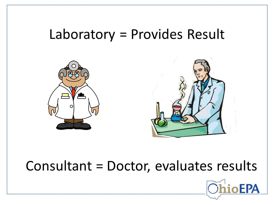 Laboratory = Provides Result Consultant = Doctor, evaluates results