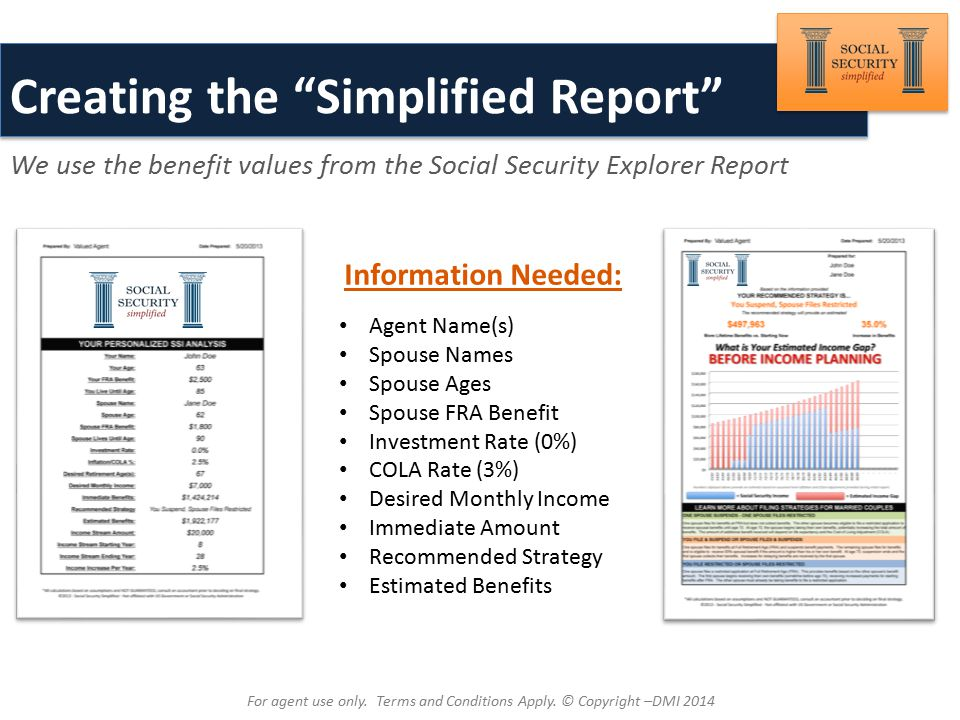 Brought to You By: Creating the Simplified Report We use the benefit values from the Social Security Explorer Report Information Needed: Agent Name(s) Spouse Names Spouse Ages Spouse FRA Benefit Investment Rate (0%) COLA Rate (3%) Desired Monthly Income Immediate Amount Recommended Strategy Estimated Benefits For agent use only.