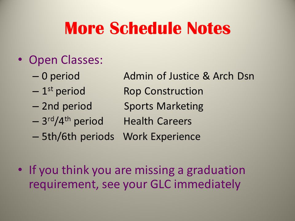 More Schedule Notes Open Classes: – 0 period Admin of Justice & Arch Dsn – 1 st period Rop Construction – 2nd period Sports Marketing – 3 rd /4 th period Health Careers – 5th/6th periods Work Experience If you think you are missing a graduation requirement, see your GLC immediately