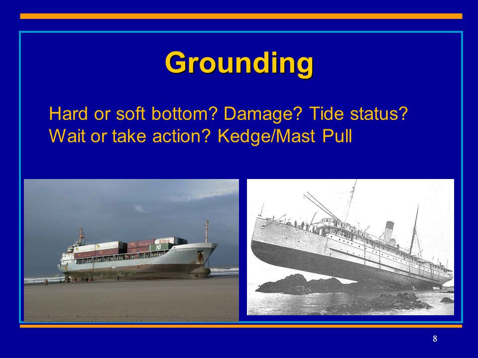 Grounding 8 Hard or soft bottom Damage Tide status Wait or take action Kedge/Mast Pull