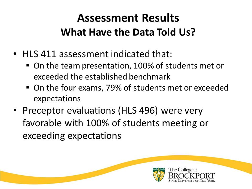 Assessment Results What Have the Data Told Us? HLS 411 assessment indicated that:  On the team presentation, 100% of students met or exceeded the est