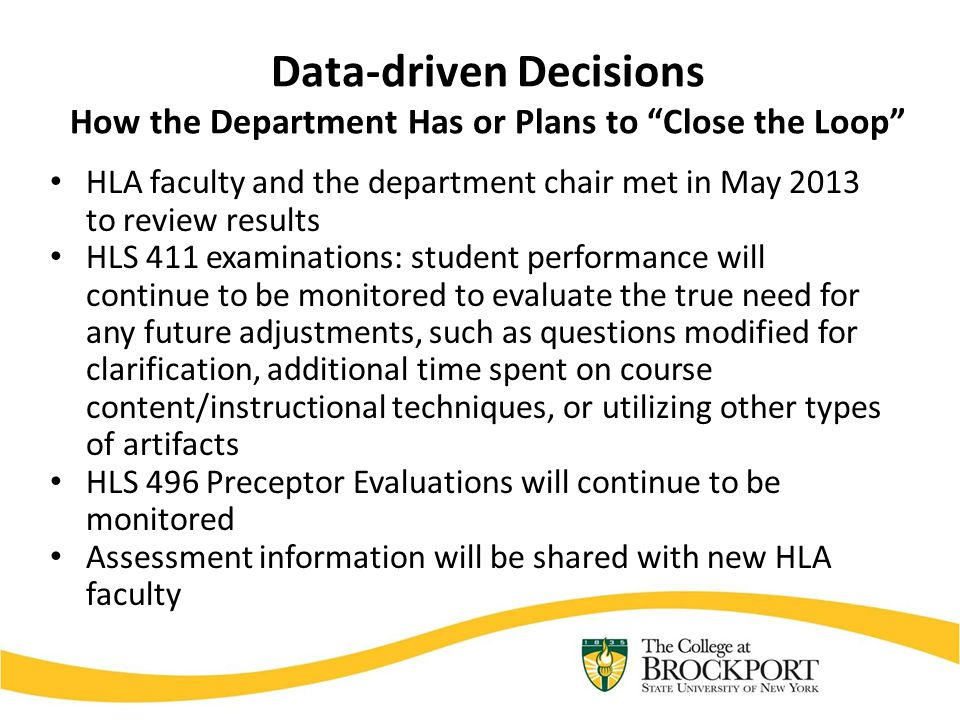 "Data-driven Decisions How the Department Has or Plans to ""Close the Loop"" HLA faculty and the department chair met in May 2013 to review results HLS 4"