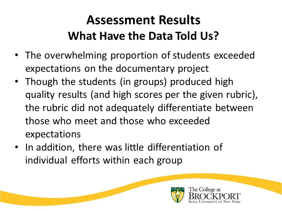 Assessment Results What Have the Data Told Us? The overwhelming proportion of students exceeded expectations on the documentary project Though the stu
