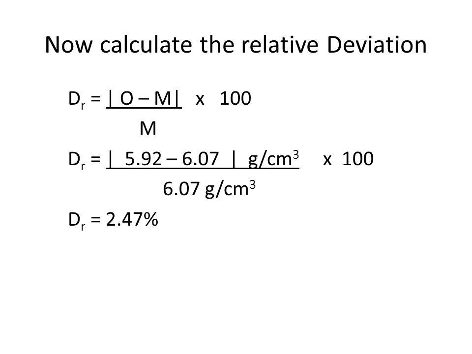 Now calculate the relative Deviation D r = | O – M| x 100 M D r = | 5.92 – 6.07 | g/cm 3 x 100 6.07 g/cm 3 D r = 2.47%