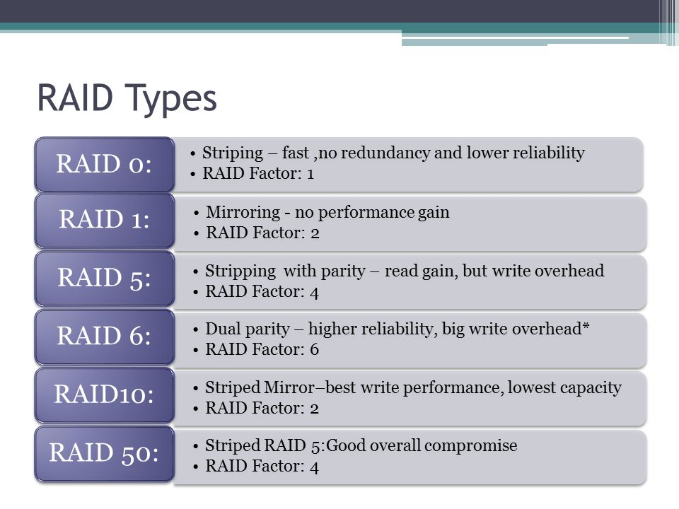 RAID Types Striping – fast,no redundancy and lower reliability RAID Factor: 1 RAID 0: Mirroring - no performance gain RAID Factor: 2 RAID 1: Stripping with parity – read gain, but write overhead RAID Factor: 4 RAID 5: Dual parity – higher reliability, big write overhead* RAID Factor: 6 RAID 6: Striped Mirror–best write performance, lowest capacity RAID Factor: 2 RAID10: Striped RAID 5:Good overall compromise RAID Factor: 4 RAID 50: