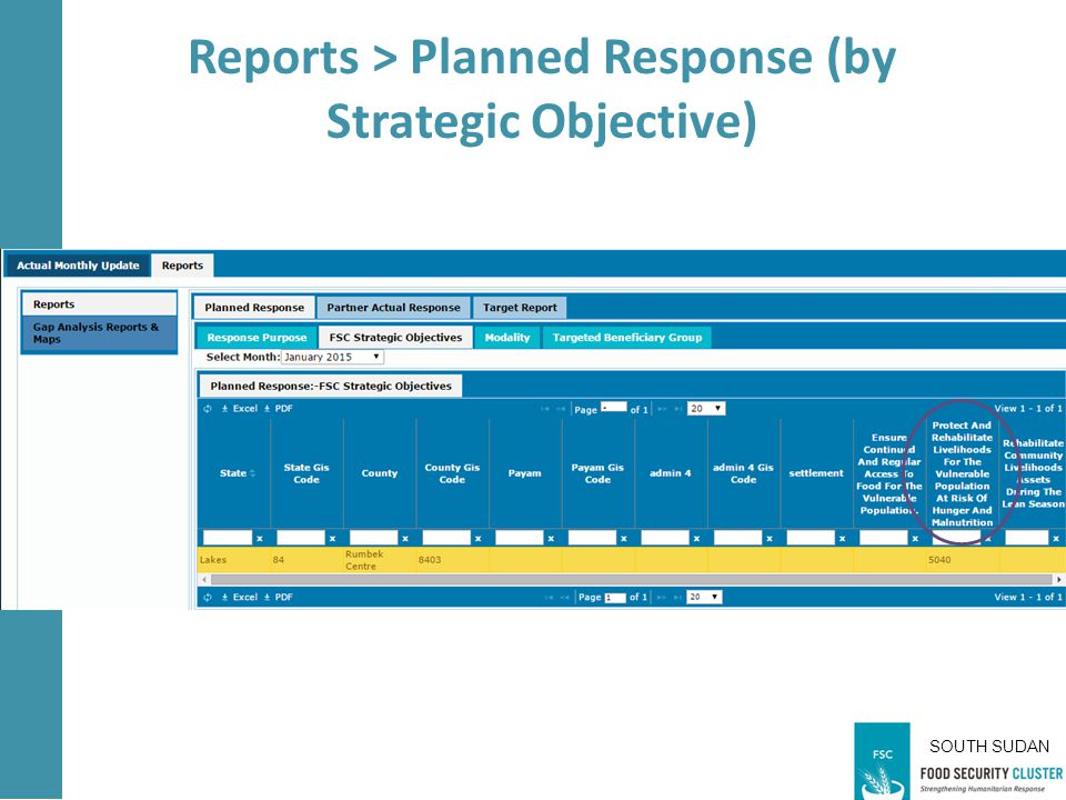SOUTH SUDAN Reports > Planned Response (by Strategic Objective)
