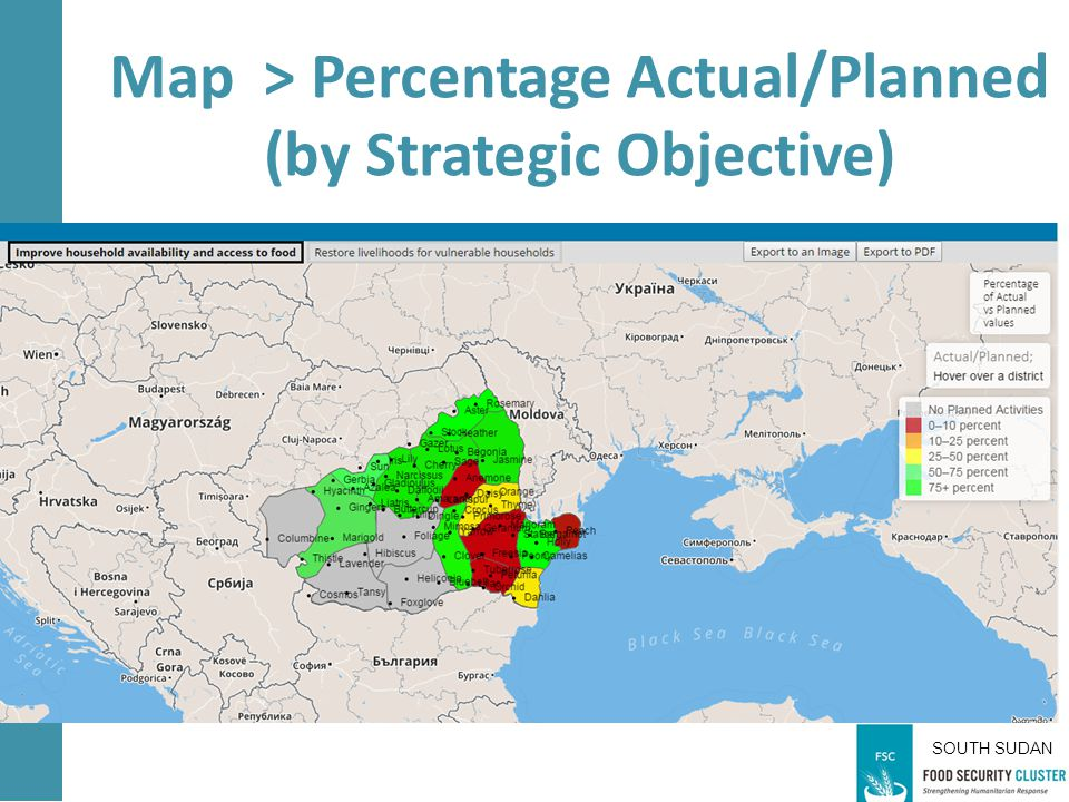 SOUTH SUDAN Map > Percentage Actual/Planned (by Strategic Objective)