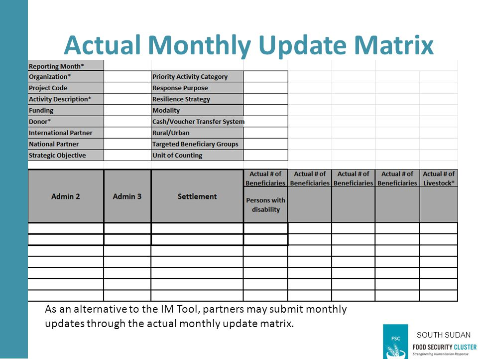 SOUTH SUDAN Actual Monthly Update Matrix As an alternative to the IM Tool, partners may submit monthly updates through the actual monthly update matrix.