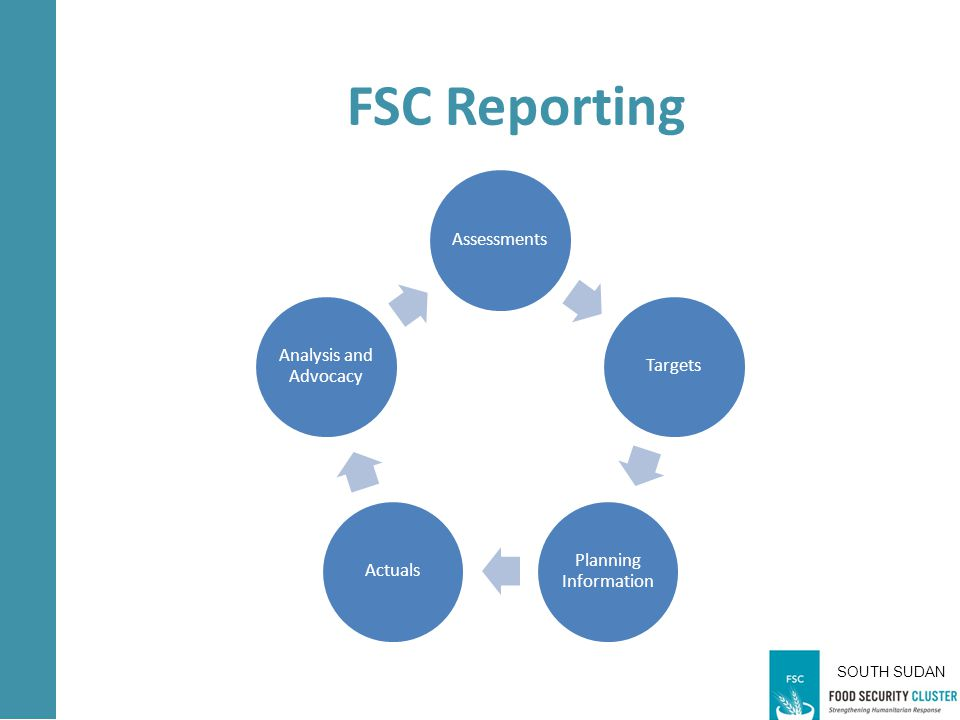 SOUTH SUDAN AssessmentsTargets Planning Information Actuals Analysis and Advocacy Partners Responsibility to FSC FSC Reporting