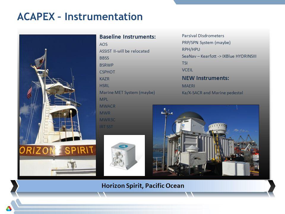 Horizon Spirit, Pacific Ocean Baseline Instruments: AOS ASSIST II-will be relocated BBSS BSRWP CSPHOT KAZR HSRL Marine MET System (maybe) MPL MWACR MWR MWR3C IRT SST Parsival Disdrometers PRP/SPN System (maybe) RPH/HPU SeaNav – Kearfott -> IXBlue HYDRINSIII TSI VCEIL NEW Instruments: MAERI Ka/X-SACR and Marine pedestal ACAPEX – Instrumentation