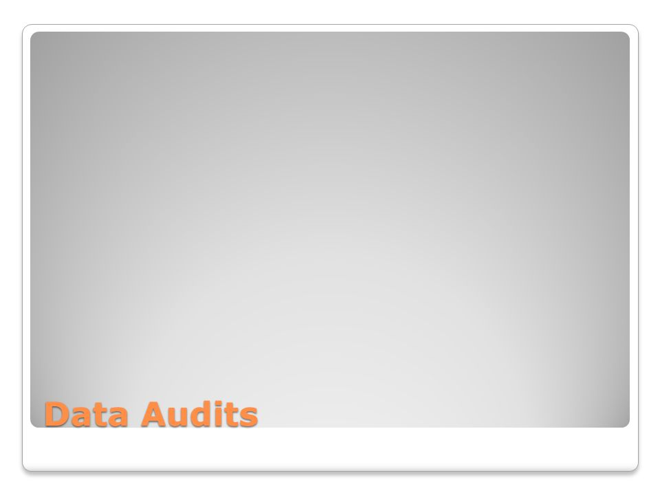 Data Audits