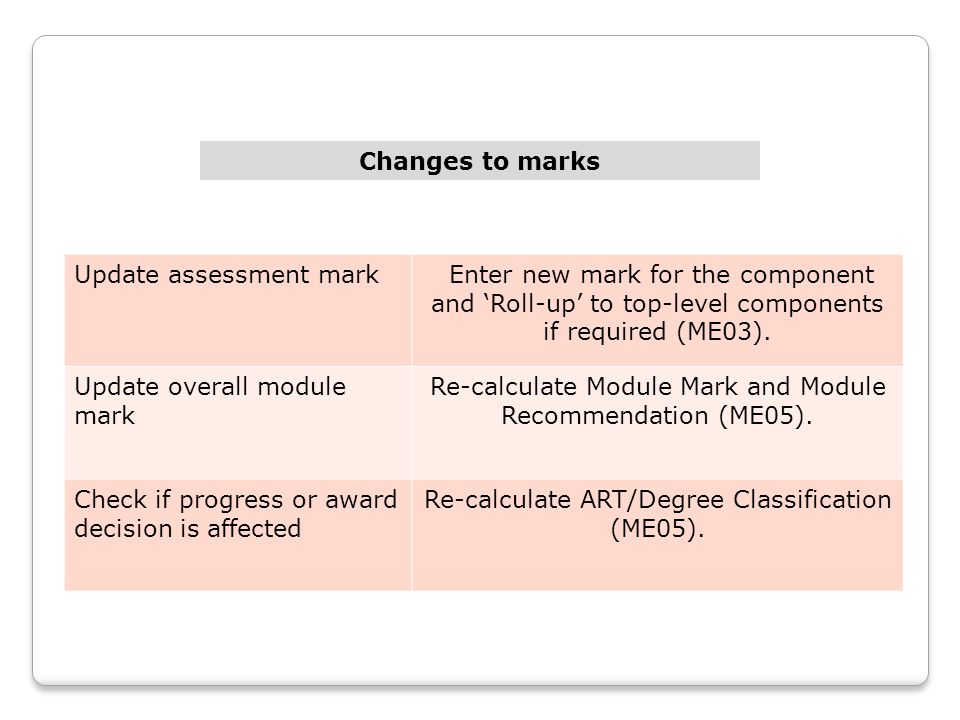 Changes to marks Update assessment mark Enter new mark for the component and 'Roll-up' to top-level components if required (ME03).
