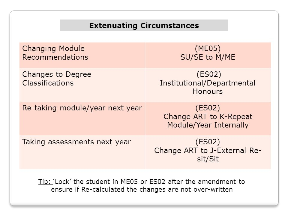 Changing Module Recommendations (ME05) SU/SE to M/ME Changes to Degree Classifications (ES02) Institutional/Departmental Honours Re-taking module/year next year(ES02) Change ART to K-Repeat Module/Year Internally Taking assessments next year(ES02) Change ART to J-External Re- sit/Sit Extenuating Circumstances Tip: 'Lock' the student in ME05 or ES02 after the amendment to ensure if Re-calculated the changes are not over-written