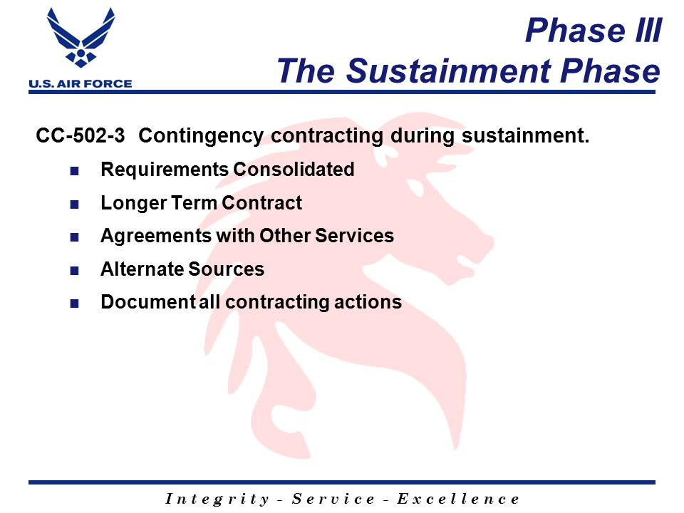 I n t e g r i t y - S e r v i c e - E x c e l l e n c e Phase III The Sustainment Phase CC-502-3 Contingency contracting during sustainment.