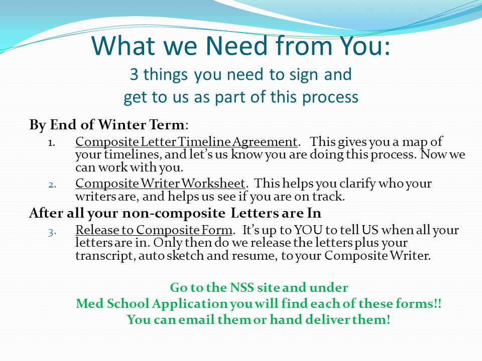 What we Need from You: 3 things you need to sign and get to us as part of this process By End of Winter Term: 1.Composite Letter Timeline Agreement.