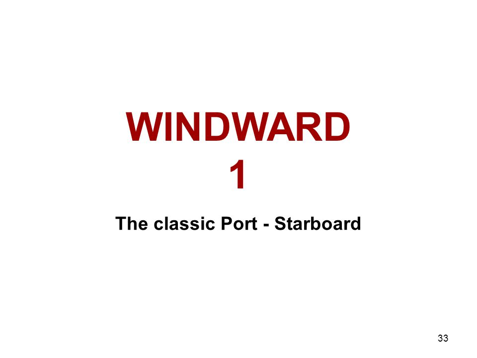 33 WINDWARD 1 The classic Port - Starboard