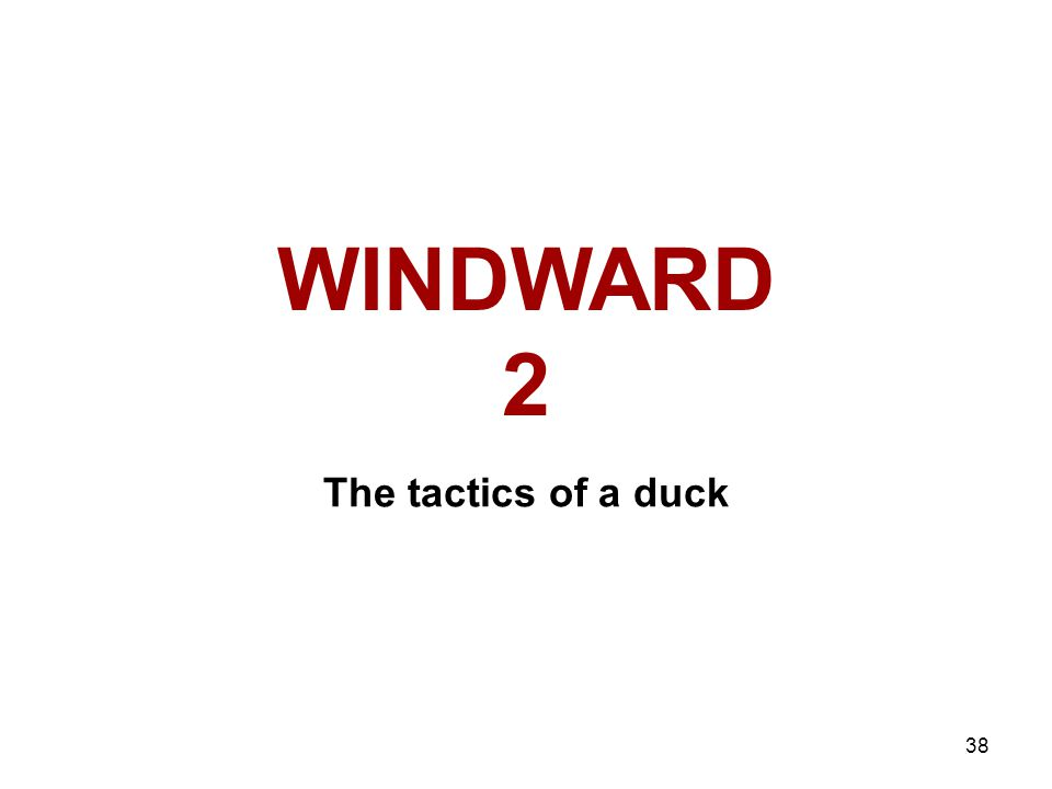 38 WINDWARD 2 The tactics of a duck