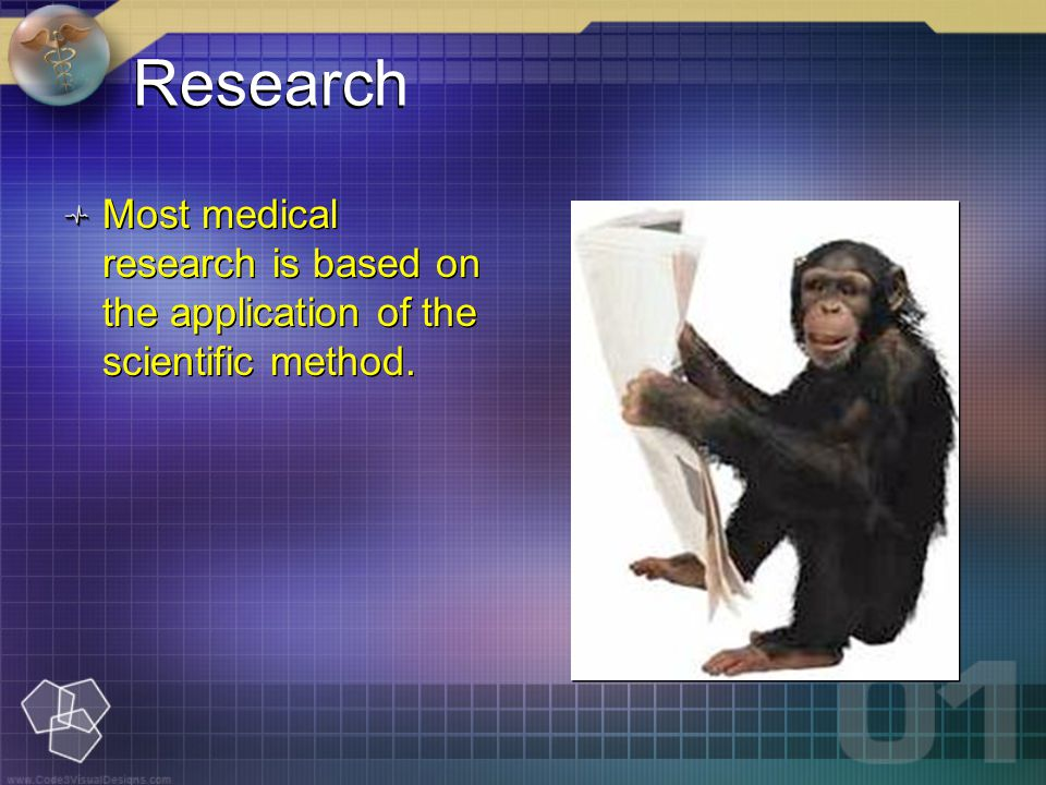 Research Most medical research is based on the application of the scientific method.