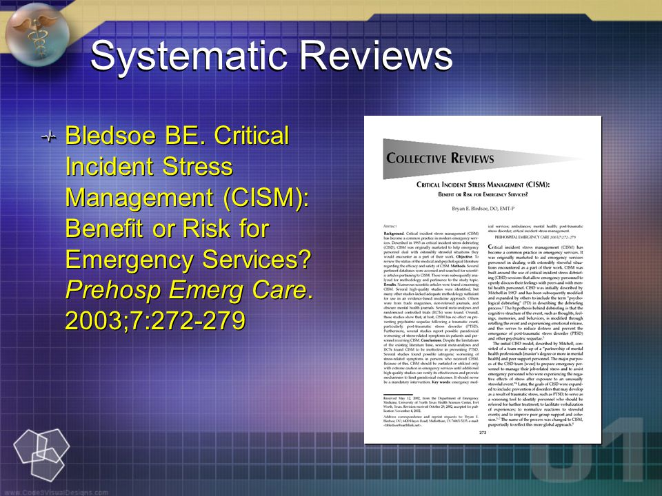 Systematic Reviews Bledsoe BE.