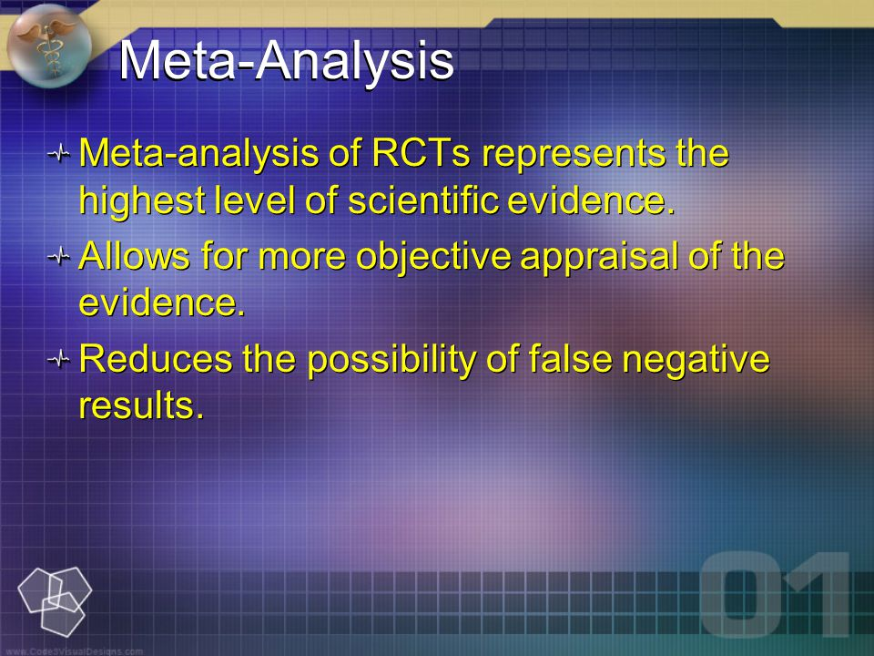 Meta-analysis of RCTs represents the highest level of scientific evidence.