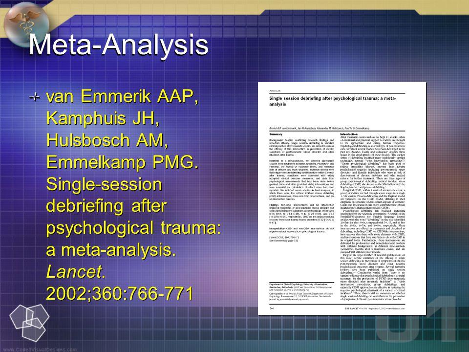 Meta-Analysis van Emmerik AAP, Kamphuis JH, Hulsbosch AM, Emmelkamp PMG.