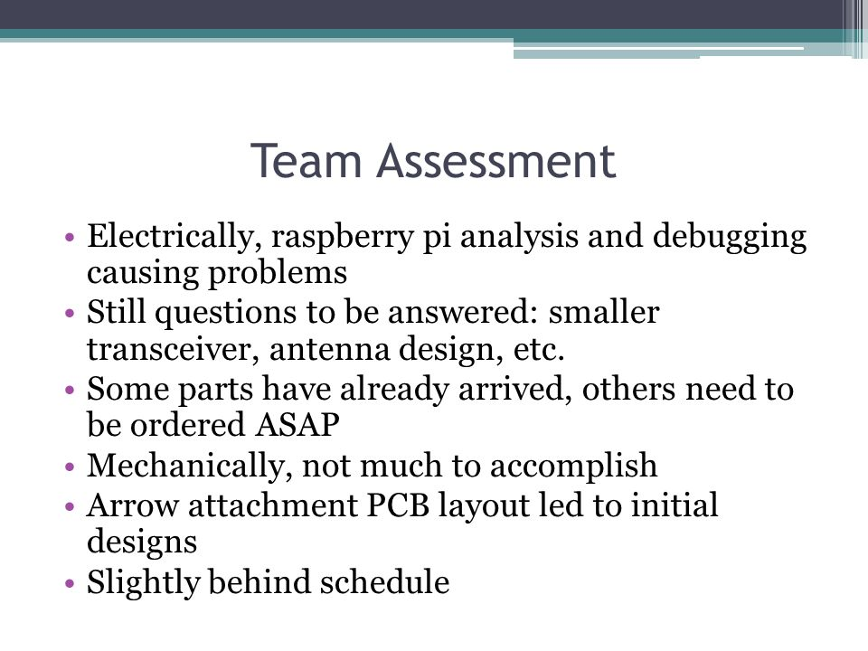 Team Assessment Electrically, raspberry pi analysis and debugging causing problems Still questions to be answered: smaller transceiver, antenna design, etc.