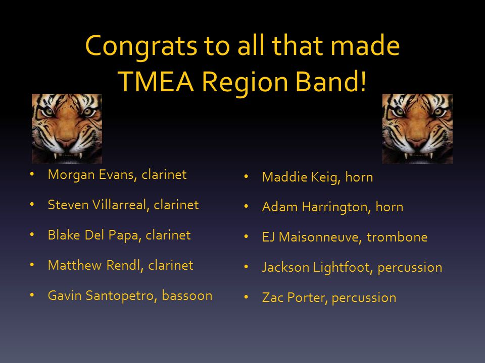 Congrats to all that made TMEA Region Band.