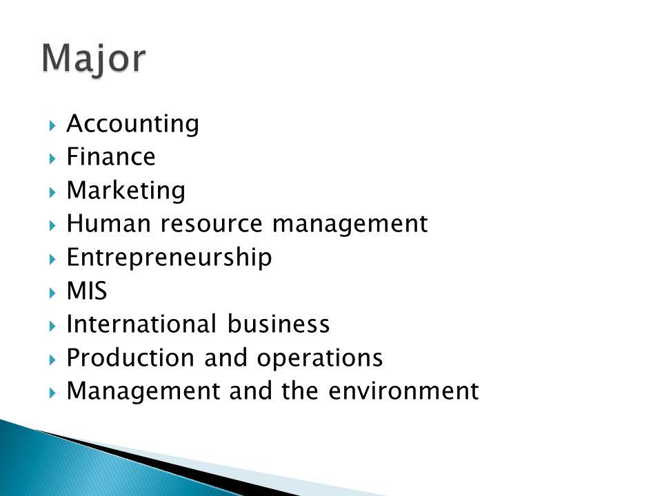  Accounting  Finance  Marketing  Human resource management  Entrepreneurship  MIS  International business  Production and operations  Managem