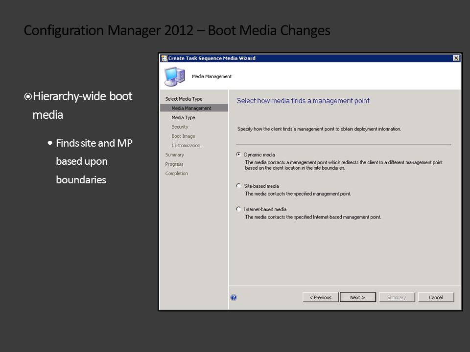 Configuration Manager 2012 – Boot Media Changes  Hierarchy-wide boot media Finds site and MP based upon boundaries