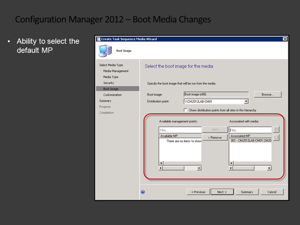 Configuration Manager 2012 – Boot Media Changes Ability to select the default MP