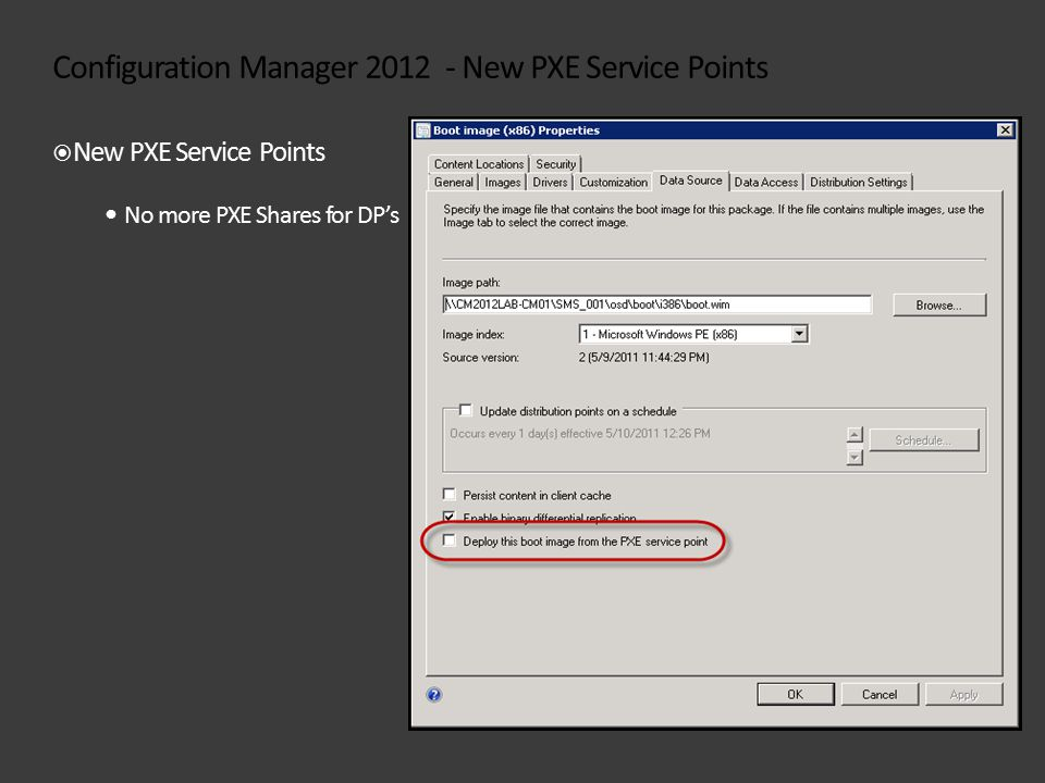 Configuration Manager 2012 - New PXE Service Points  New PXE Service Points No more PXE Shares for DP's