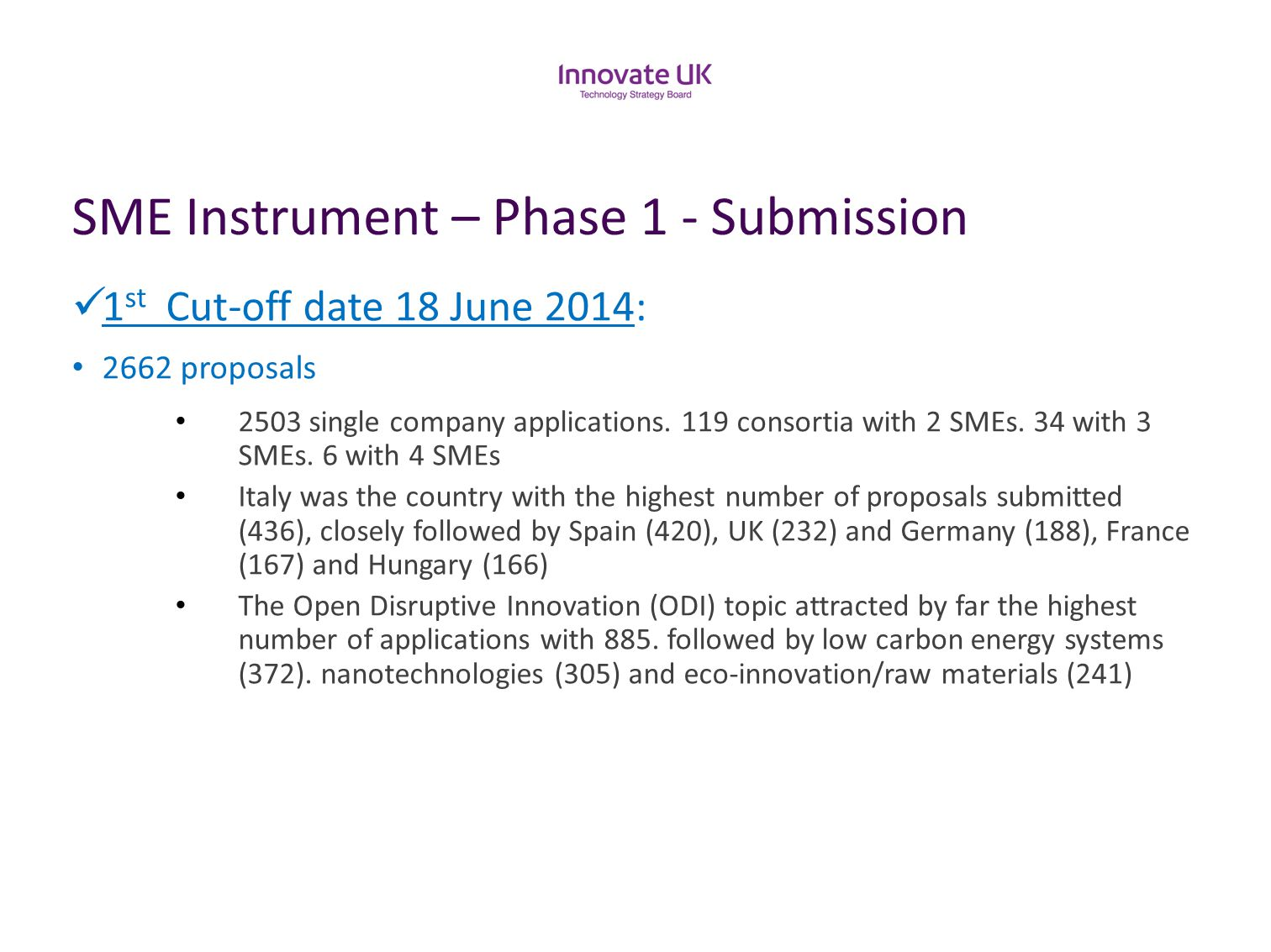 SME Instrument – Phase 1 - Submission 1 st Cut-off date 18 June 2014: 2662 proposals 2503 single company applications. 119 consortia with 2 SMEs. 34 w