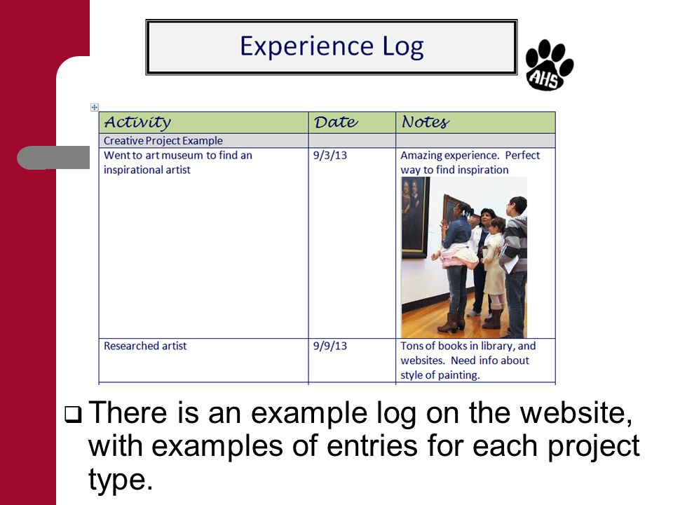  There is an example log on the website, with examples of entries for each project type.