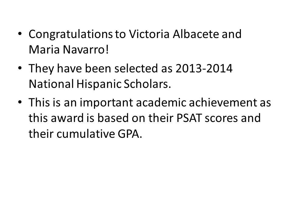 Congratulations to Victoria Albacete and Maria Navarro.