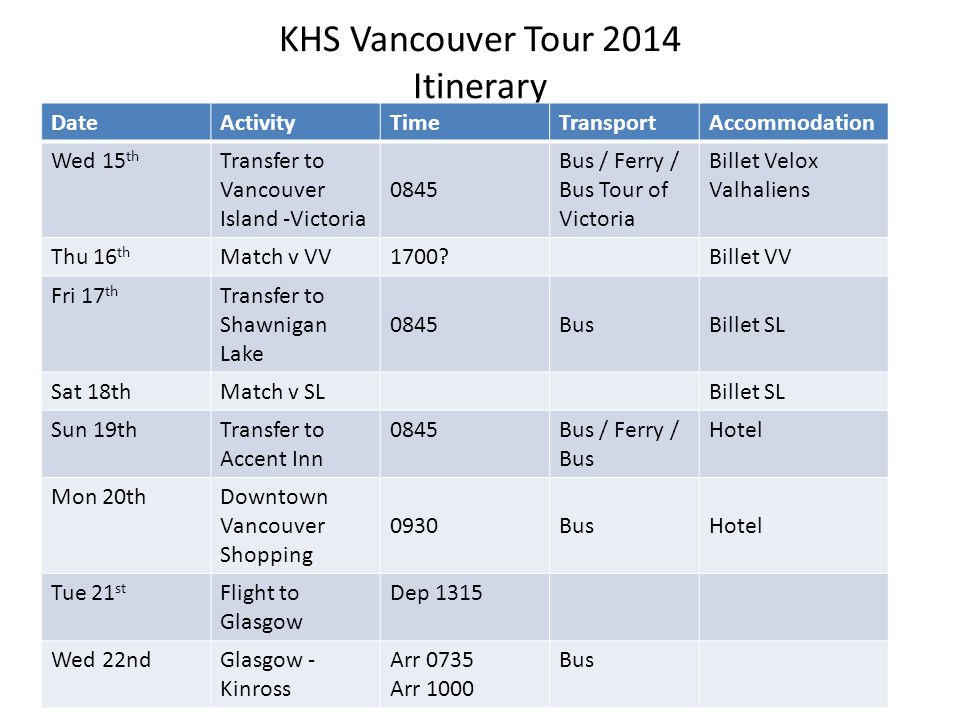 KHS Vancouver Tour 2014 Itinerary DateActivityTimeTransportAccommodation Wed 15 th Transfer to Vancouver Island -Victoria 0845 Bus / Ferry / Bus Tour