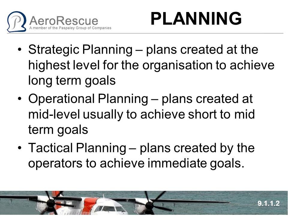 PLANNING Strategic Planning – plans created at the highest level for the organisation to achieve long term goals Operational Planning – plans created