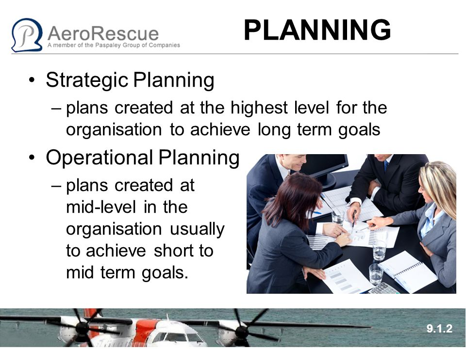 PLANNING Strategic Planning –plans created at the highest level for the organisation to achieve long term goals Operational Planning –plans created at