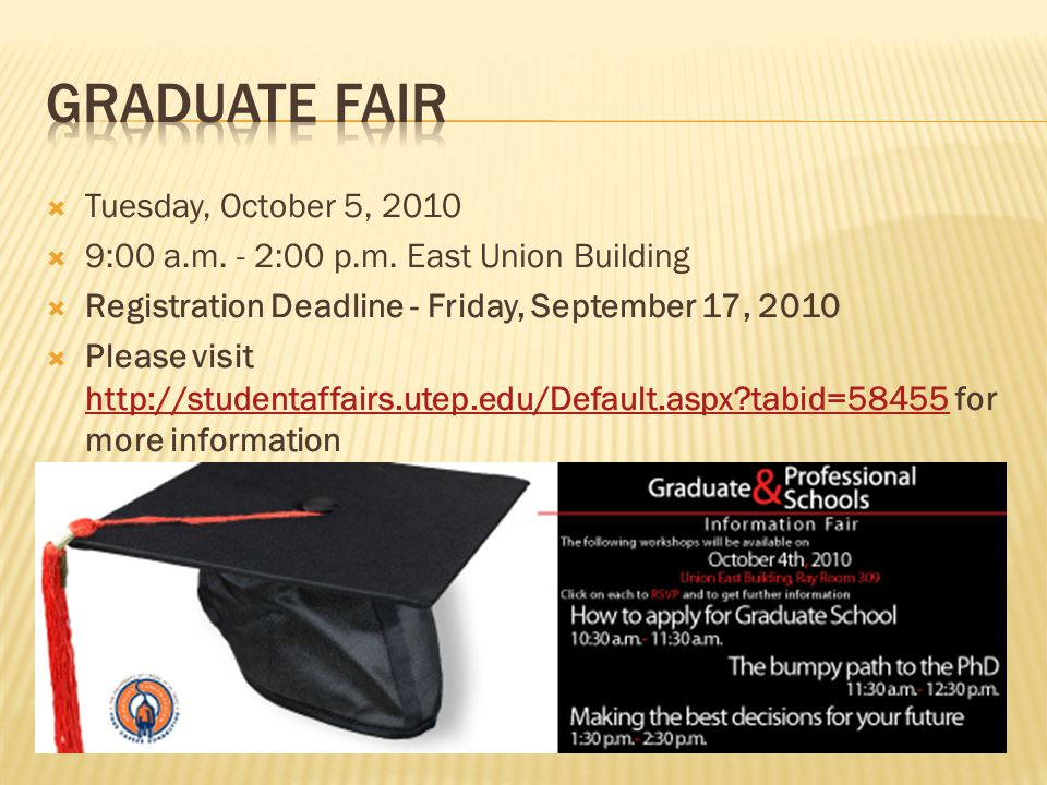  Tuesday, October 5, 2010  9:00 a.m. - 2:00 p.m. East Union Building  Registration Deadline - Friday, September 17, 2010  Please visit http://stud