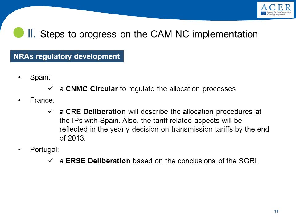 11 II. Steps to progress on the CAM NC implementation Spain: a CNMC Circular to regulate the allocation processes. France: a CRE Deliberation will des