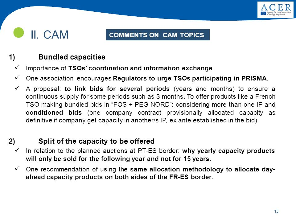 13 II. CAM COMMENTS ON CAM TOPICS 1)Bundled capacities Importance of TSOs' coordination and information exchange. One association encourages Regulator